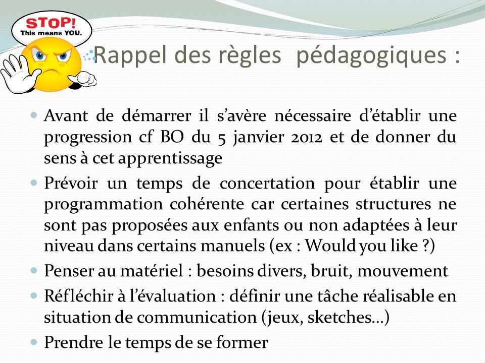 Rappel des règles pédagogiques : Avant de démarrer il savère nécessaire détablir une progression cf BO du 5 janvier 2012 et de donner du sens à cet ap