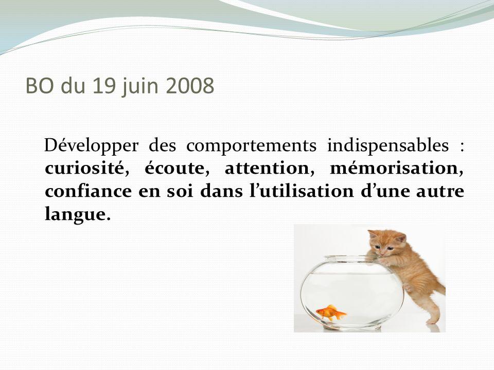 BO du 19 juin 2008 Développer des comportements indispensables : curiosité, écoute, attention, mémorisation, confiance en soi dans lutilisation dune a