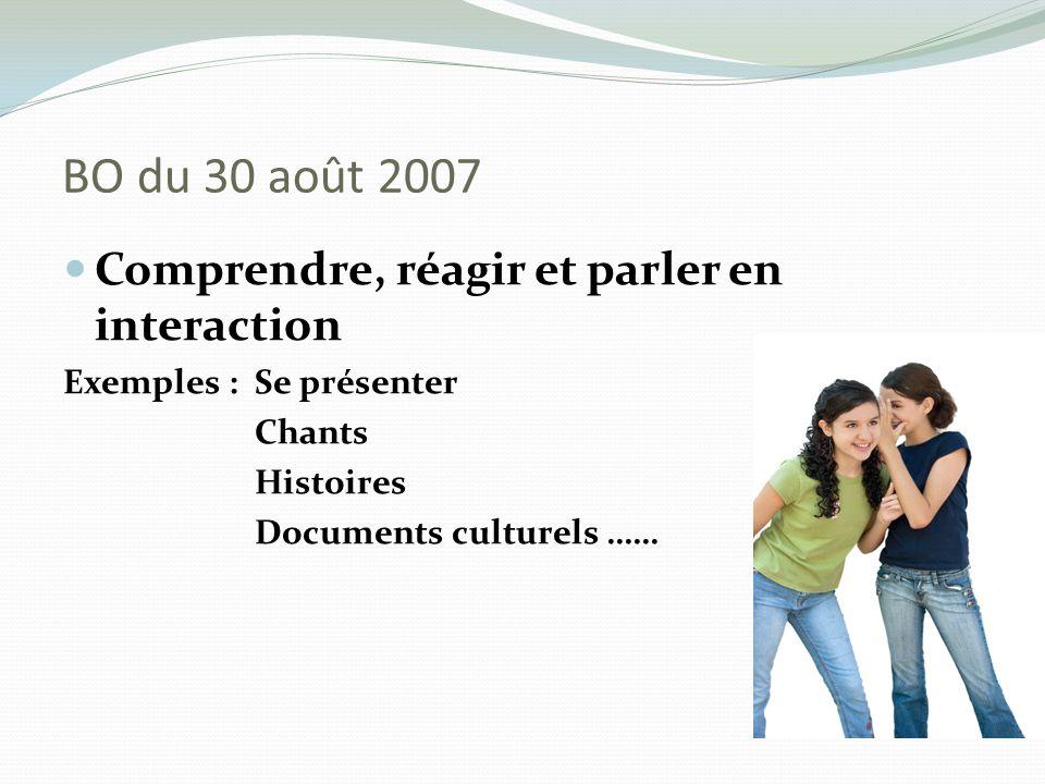 BO du 30 août 2007 Comprendre, réagir et parler en interaction Exemples : Se présenter Chants Histoires Documents culturels ……