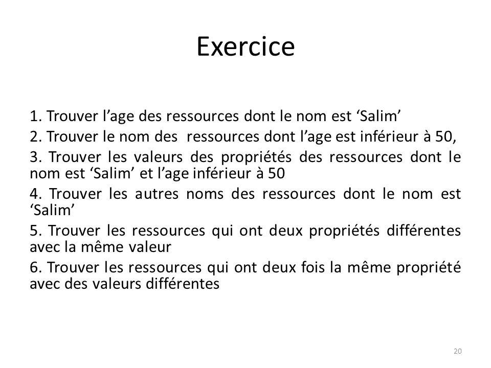 Exercice 1. Trouver lage des ressources dont le nom est Salim 2. Trouver le nom des ressources dont lage est inférieur à 50, 3. Trouver les valeurs de