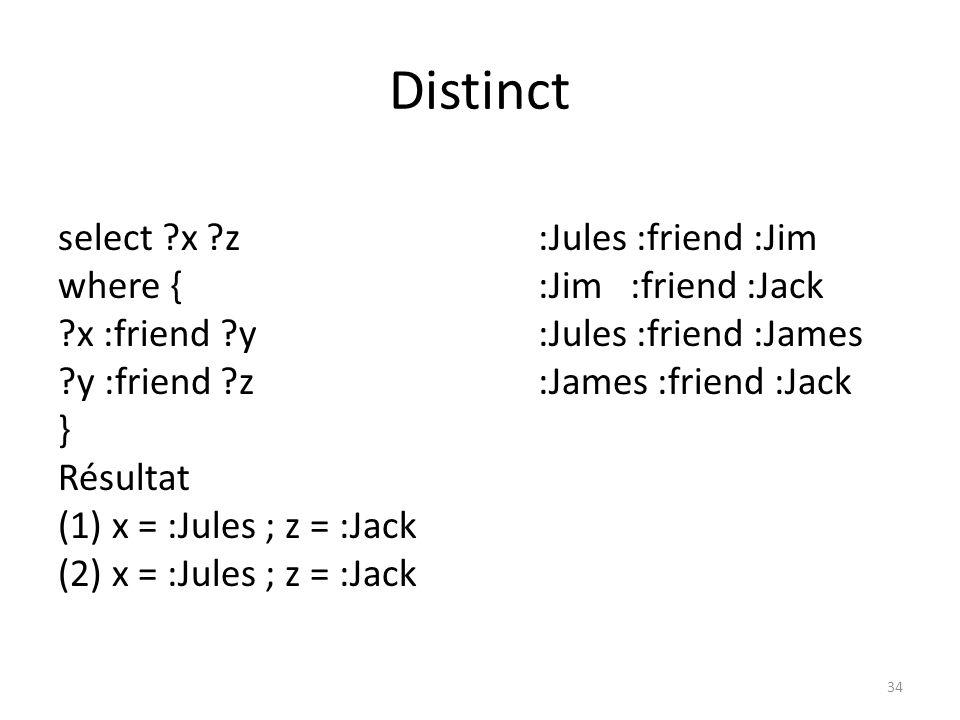 Distinct select x z :Jules :friend :Jim where { :Jim :friend :Jack x :friend y :Jules :friend :James y :friend z :James :friend :Jack } Résultat (1) x = :Jules ; z = :Jack (2) x = :Jules ; z = :Jack 34