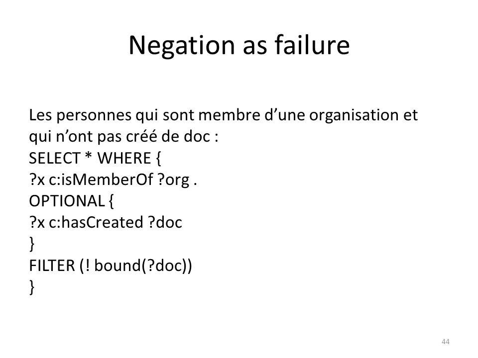 Negation as failure Les personnes qui sont membre dune organisation et qui nont pas créé de doc : SELECT * WHERE { ?x c:isMemberOf ?org. OPTIONAL { ?x
