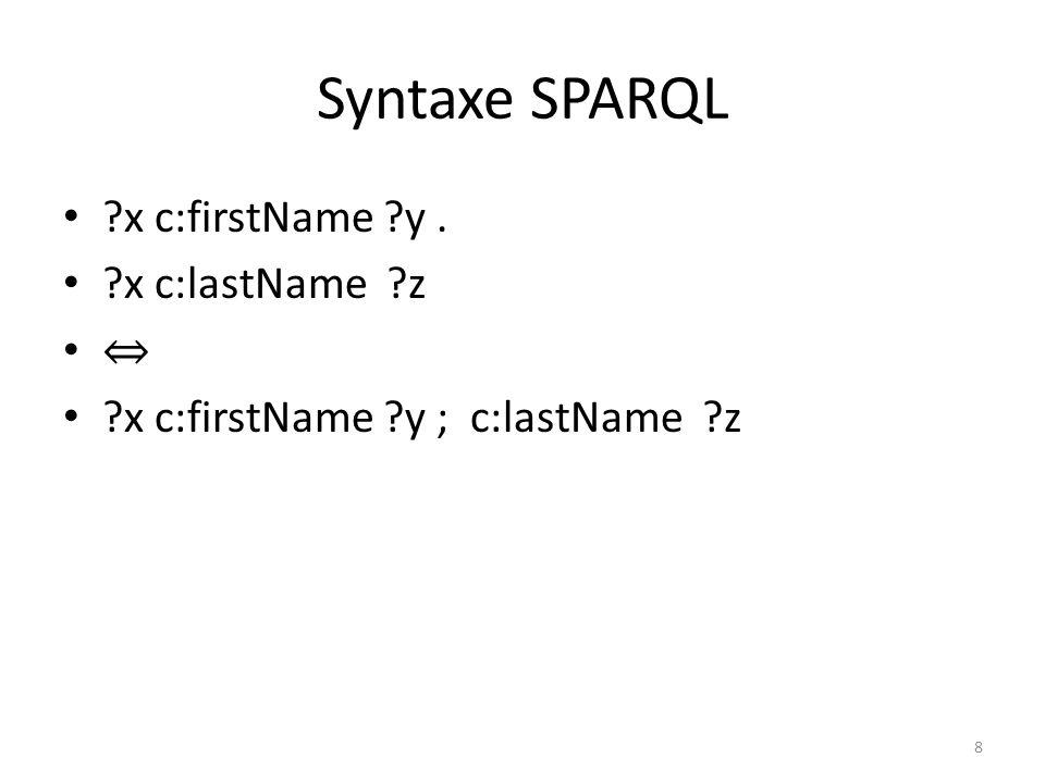 Syntaxe SPARQL x c:firstName y. x c:lastName z x c:firstName y ; c:lastName z 8
