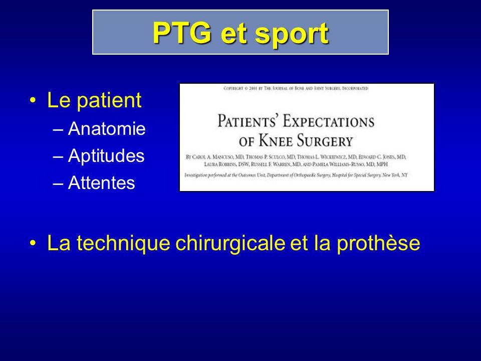 Le patient –Anatomie –Aptitudes –Attentes La technique chirurgicale et la prothèse PTG et sport