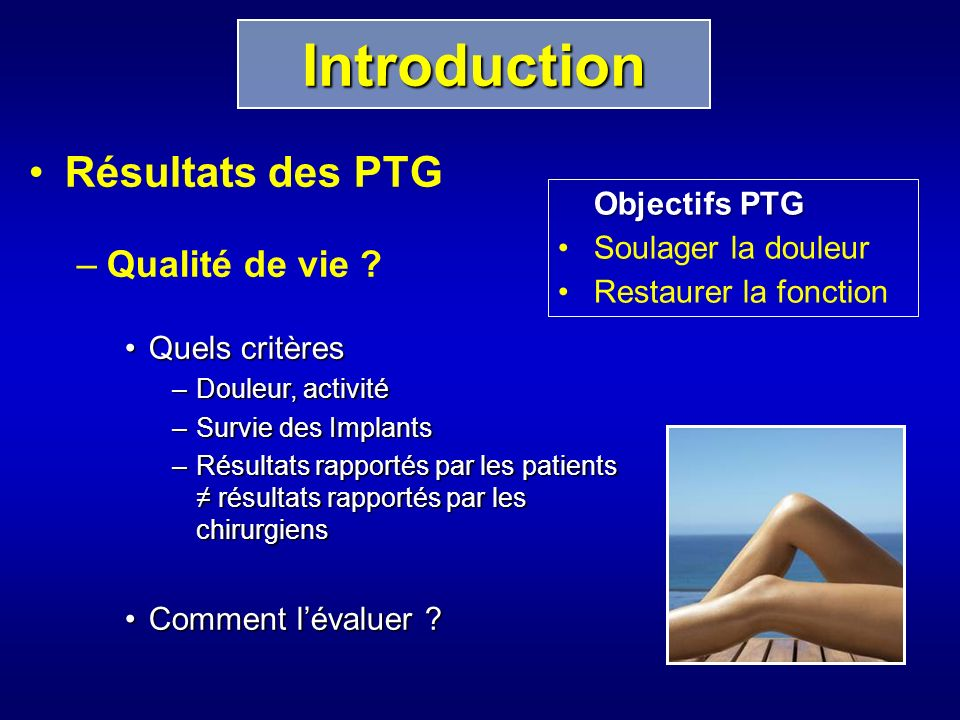 Résultats des PTG –Qualité de vie .