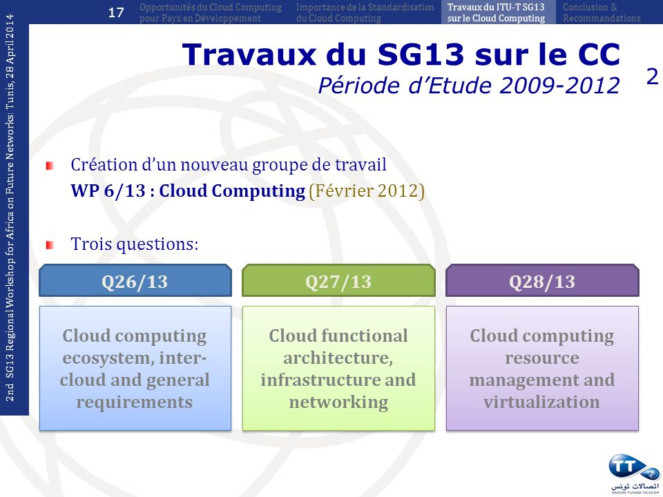 Travaux du SG13 sur le CC Période dEtude 2009-2012 Création dun nouveau groupe de travail WP 6/13 : Cloud Computing (Février 2012) Trois questions: 2 Cloud computing ecosystem, inter- cloud and general requirements Q26/13 Cloud functional architecture, infrastructure and networking Q27/13 Cloud computing resource management and virtualization Q28/13 2nd SG13 Regional Workshop for Africa on Future Networks: Tunis, 28 April 2014 Conclusion & Recommandations Travaux du ITU-T SG13 sur le Cloud Computing Importance de la Standardisation du Cloud Computing Opportunités du Cloud Computing pour Pays en Développement 17