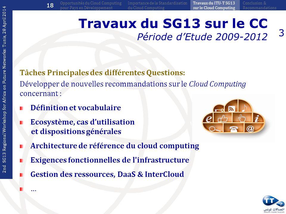 Travaux du SG13 sur le CC Période dEtude 2009-2012 Tâches Principales des différentes Questions: Développer de nouvelles recommandations sur le Cloud