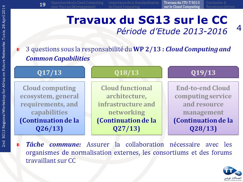 Travaux du SG13 sur le CC Période dEtude 2013-2016 3 questions sous la responsabilité du WP 2/13 : Cloud Computing and Common Capabilities 4 Cloud computing ecosystem, general requirements, and capabilities (Continuation de la Q26/13) Cloud computing ecosystem, general requirements, and capabilities (Continuation de la Q26/13) Q17/13 Cloud functional architecture, infrastructure and networking (Continuation de la Q27/13) Cloud functional architecture, infrastructure and networking (Continuation de la Q27/13) Q18/13 End-to-end Cloud computing service and resource management (Continuation de la Q28/13) End-to-end Cloud computing service and resource management (Continuation de la Q28/13) Q19/13 Tâche commune: Assurer la collaboration nécessaire avec les organismes de normalisation externes, les consortiums et des forums travaillant sur CC 2nd SG13 Regional Workshop for Africa on Future Networks: Tunis, 28 April 2014 Conclusion & Recommandations Travaux du ITU-T SG13 sur le Cloud Computing Importance de la Standardisation du Cloud Computing Opportunités du Cloud Computing pour Pays en Développement 19