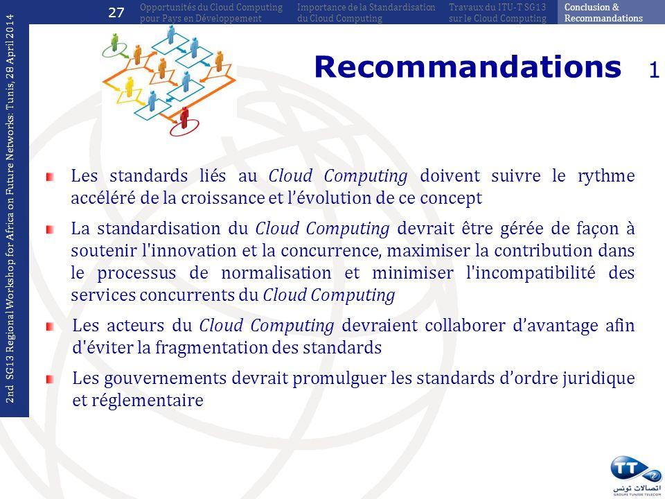 Recommandations Les standards liés au Cloud Computing doivent suivre le rythme accéléré de la croissance et lévolution de ce concept La standardisatio
