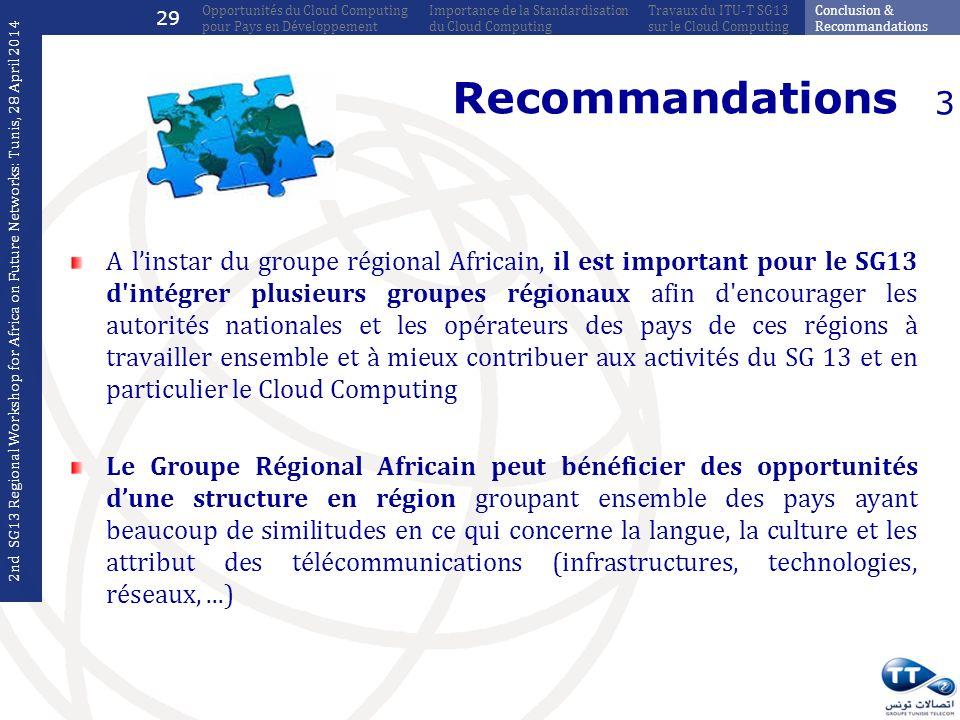 Recommandations A linstar du groupe régional Africain, il est important pour le SG13 d'intégrer plusieurs groupes régionaux afin d'encourager les auto