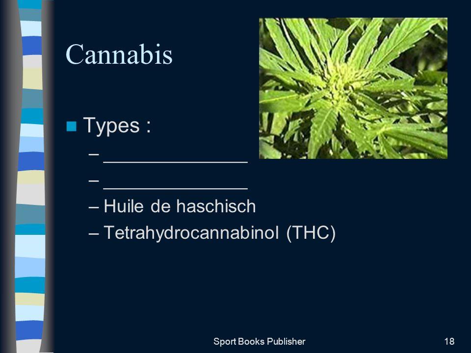 Sport Books Publisher18 Cannabis Types : –______________ –Huile de haschisch –Tetrahydrocannabinol (THC)