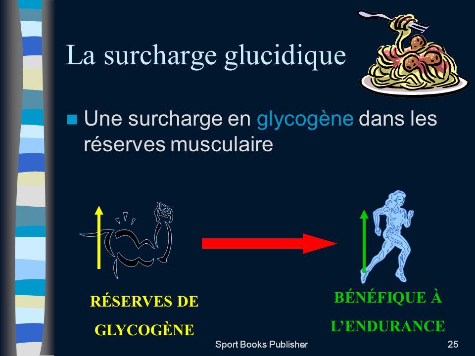 Sport Books Publisher25 La surcharge glucidique Une surcharge en glycogène dans les réserves musculaire RÉSERVES DE GLYCOGÈNE BÉNÉFIQUE À LENDURANCE