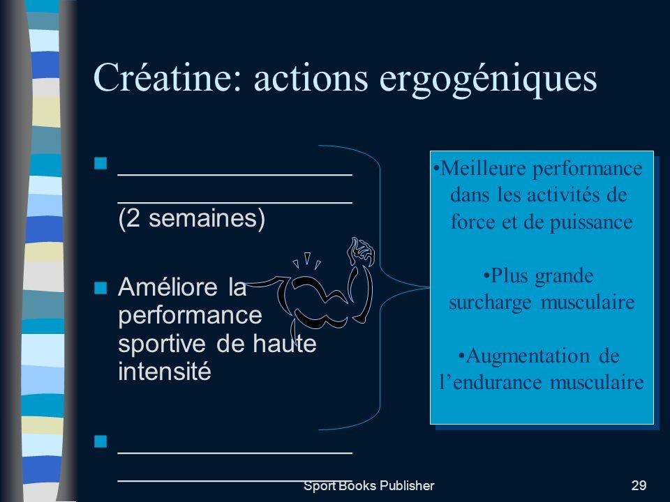 Sport Books Publisher29 Créatine: actions ergogéniques ________________ ________________ (2 semaines) Améliore la performance sportive de haute intens