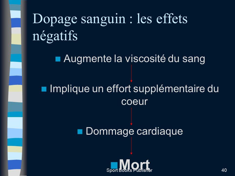 Sport Books Publisher40 Dopage sanguin : les effets négatifs Augmente la viscosité du sang Implique un effort supplémentaire du coeur Dommage cardiaqu