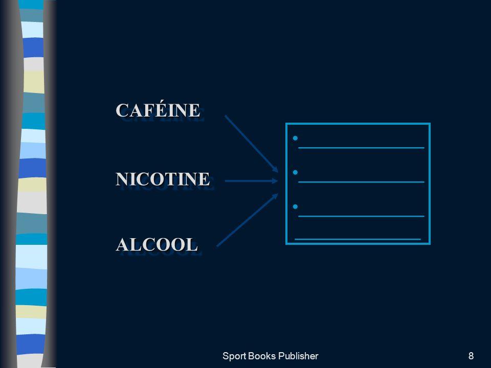 Sport Books Publisher9 La Caféine Présente dans: –Les grains de café –Les feuilles de thé –Les grains de cacao –Les noix de Kola –Les boissons énergétiques ______________(soit 2 tasses de café) nont aucun effet secondaire sur lorganisme La limite CIO est de 12mg par ml (______________________________)