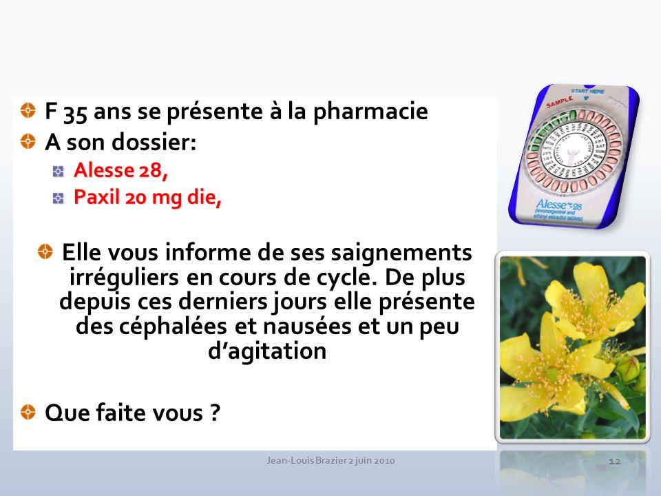 Jean-Louis Brazier 2 juin 2010 12 F 35 ans se présente à la pharmacie A son dossier: Alesse 28, Paxil 20 mg die, Elle vous informe de ses saignements