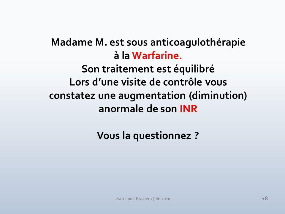 Jean-Louis Brazier 2 juin 2010 18 Madame M. est sous anticoagulothérapie à la Warfarine. Son traitement est équilibré Lors dune visite de contrôle vou