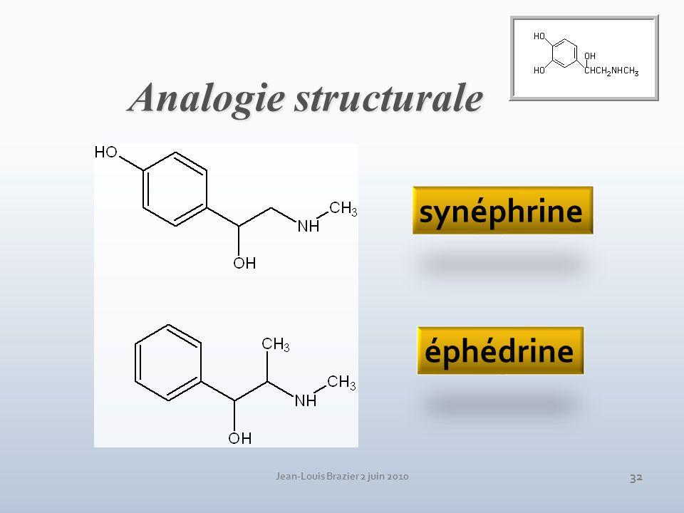 Jean-Louis Brazier 2 juin 2010 32 synéphrine éphédrine Analogie structurale