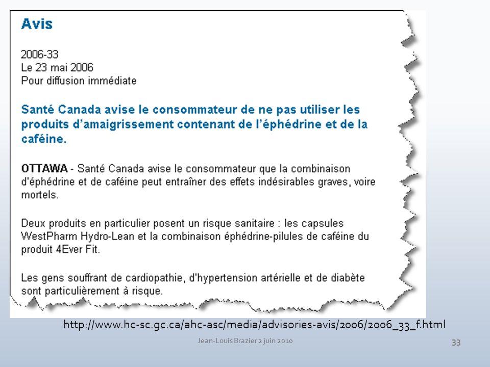 Jean-Louis Brazier 2 juin 2010 33 http://www.hc-sc.gc.ca/ahc-asc/media/advisories-avis/2006/2006_33_f.html