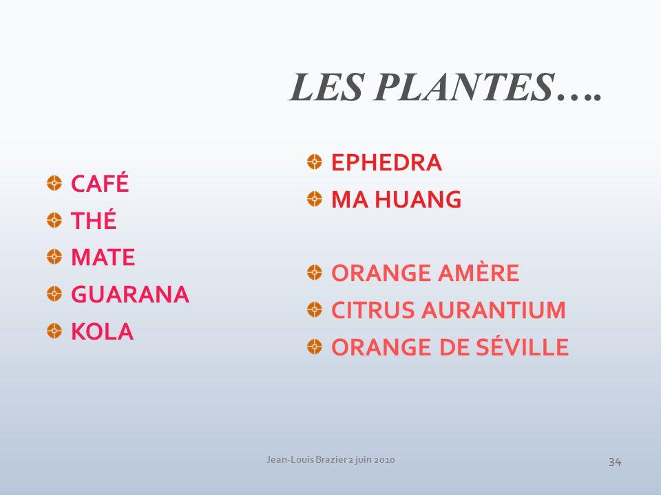 Jean-Louis Brazier 2 juin 2010 34 LES PLANTES…. CAFÉ THÉ MATE GUARANA KOLA EPHEDRA MA HUANG ORANGE AMÈRE CITRUS AURANTIUM ORANGE DE SÉVILLE