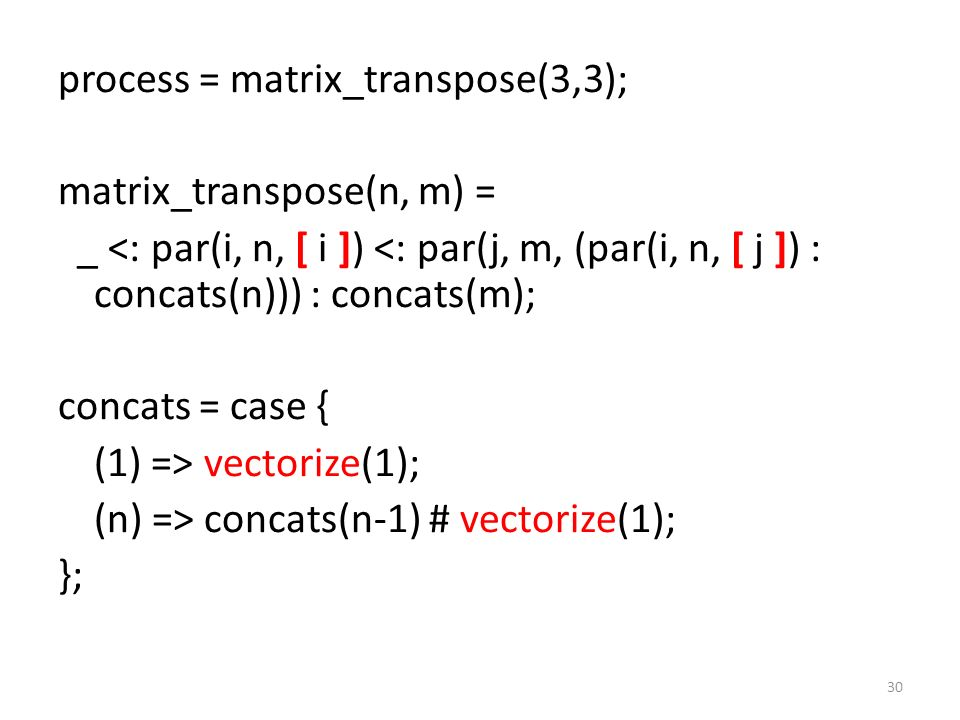process = matrix_transpose(3,3); matrix_transpose(n, m) = _ <: par(i, n, [ i ]) <: par(j, m, (par(i, n, [ j ]) : concats(n))) : concats(m); concats =