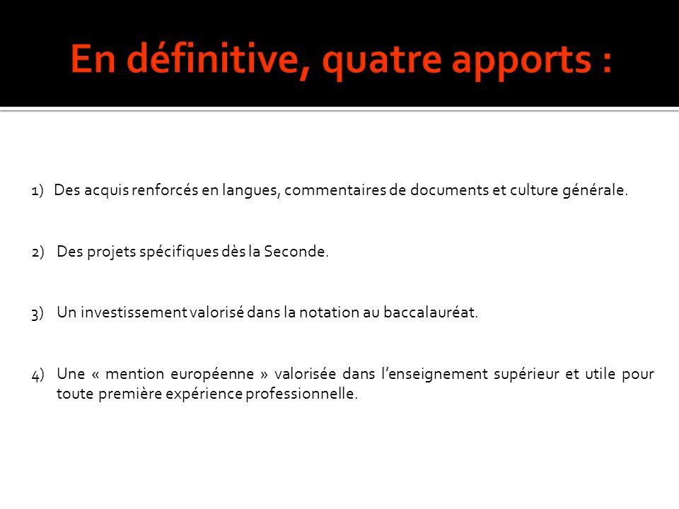 1) Des acquis renforcés en langues, commentaires de documents et culture générale. 2)Des projets spécifiques dès la Seconde. 3)Un investissement valor