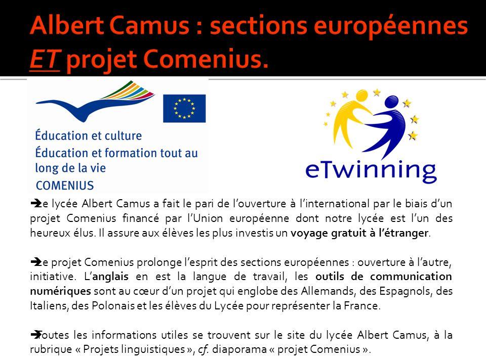 Le lycée Albert Camus a fait le pari de louverture à linternational par le biais dun projet Comenius financé par lUnion européenne dont notre lycée est lun des heureux élus.