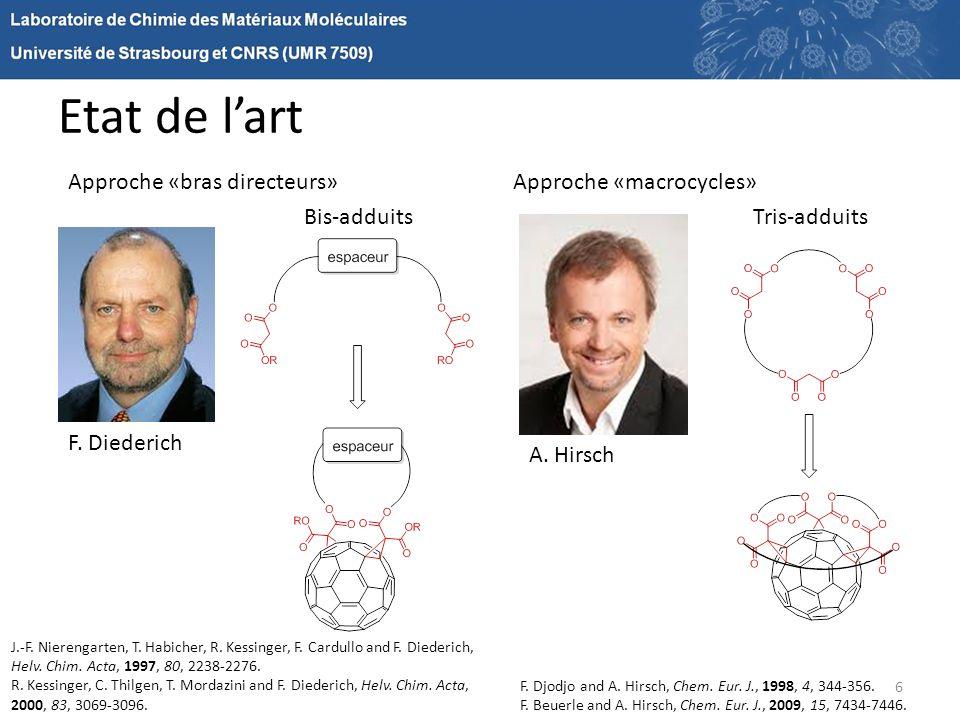 Etat de lart 6 Bis-adduitsTris-adduits Approche «bras directeurs»Approche «macrocycles» F. Diederich A. Hirsch F. Djodjo and A. Hirsch, Chem. Eur. J.,