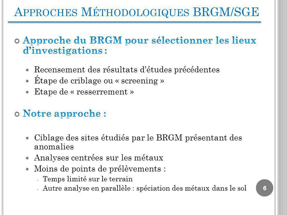 A PPROCHES M ÉTHODOLOGIQUES BRGM/SGE