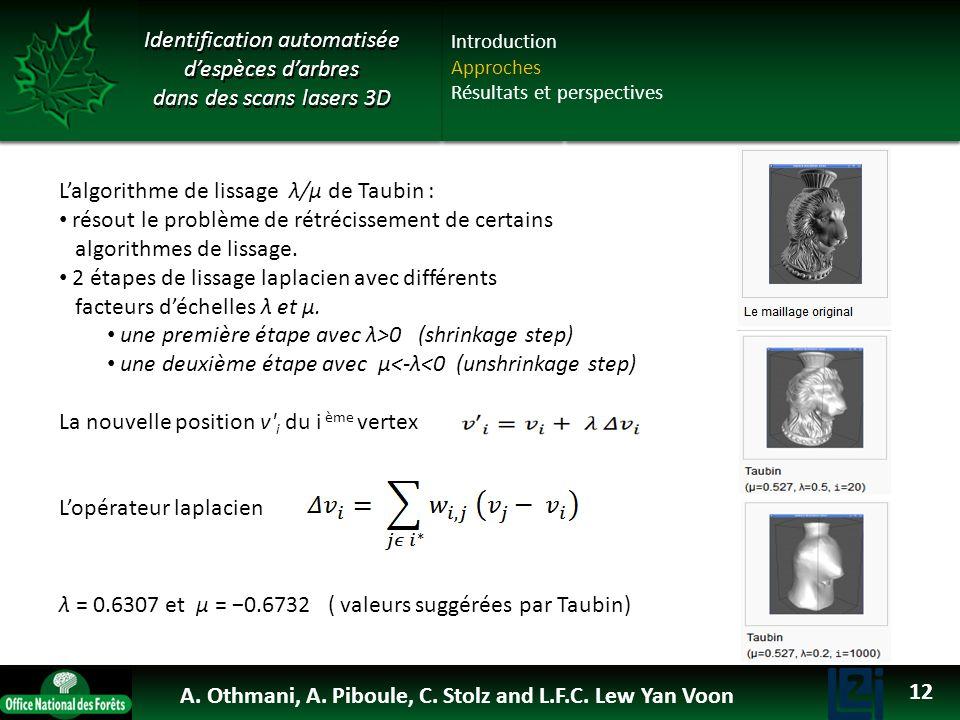 OTHMANI Ahlem 2013 Identification automatisée despèces darbres dans des scans lasers 3D Lalgorithme de lissage λ/μ de Taubin : résout le problème de r