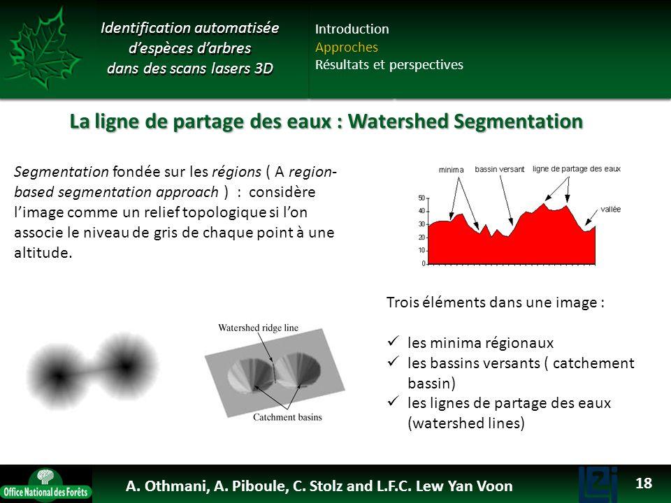 La ligne de partage des eaux : Watershed Segmentation Segmentation fondée sur les régions ( A region- based segmentation approach ) : considère limage