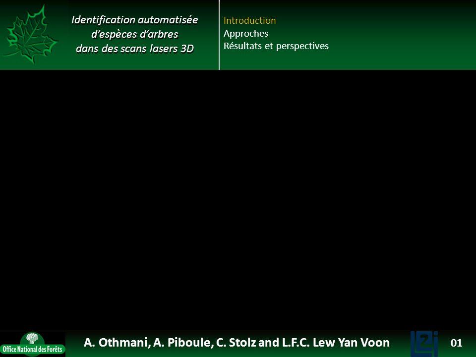 Identification automatisée despèces darbres dans des scans lasers 3D Introduction Approches Résultats et perspectives A. Othmani, A. Piboule, C. Stolz