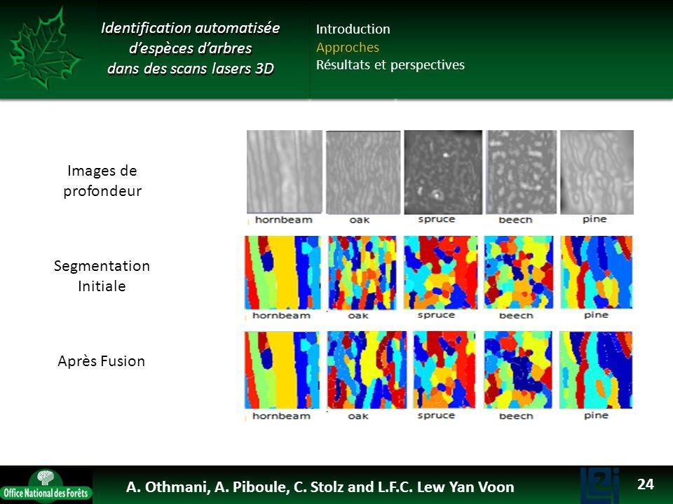 Images de profondeur Segmentation Initiale Après Fusion Identification automatisée despèces darbres dans des scans lasers 3D Introduction Approches Ré