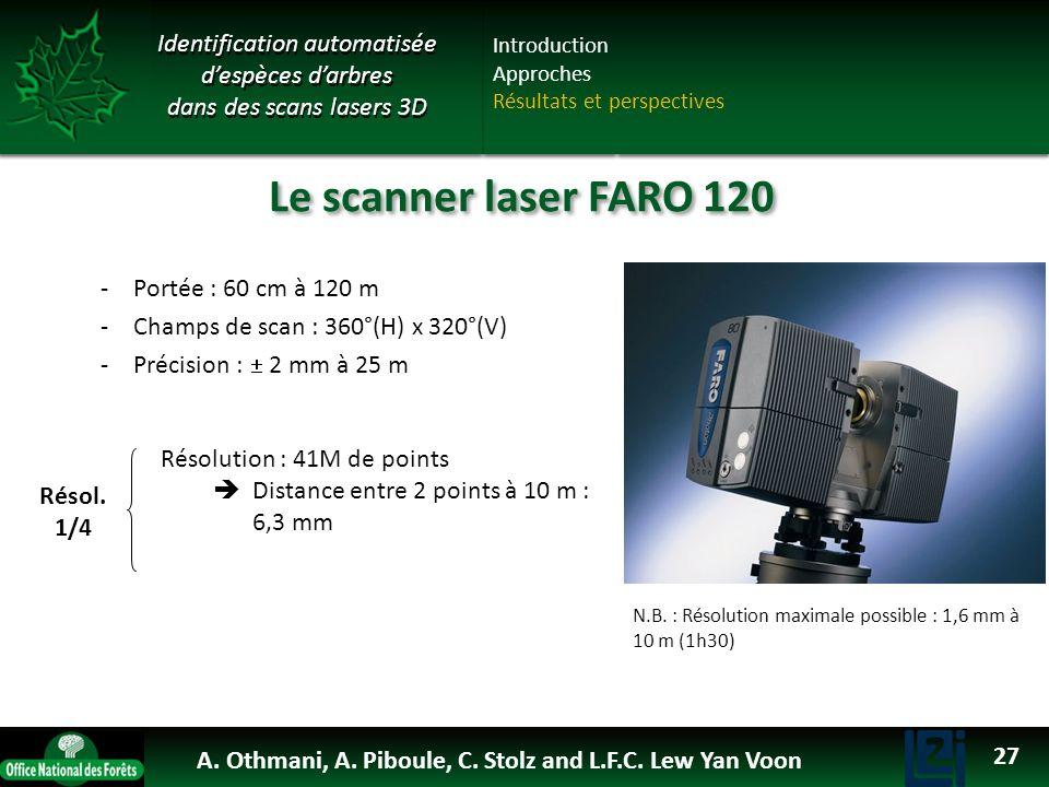 OTHMANI Ahlem 2013 -Portée : 60 cm à 120 m -Champs de scan : 360°(H) x 320°(V) -Précision : 2 mm à 25 m Le scanner laser FARO 120 Résol. 1/4 Résolutio