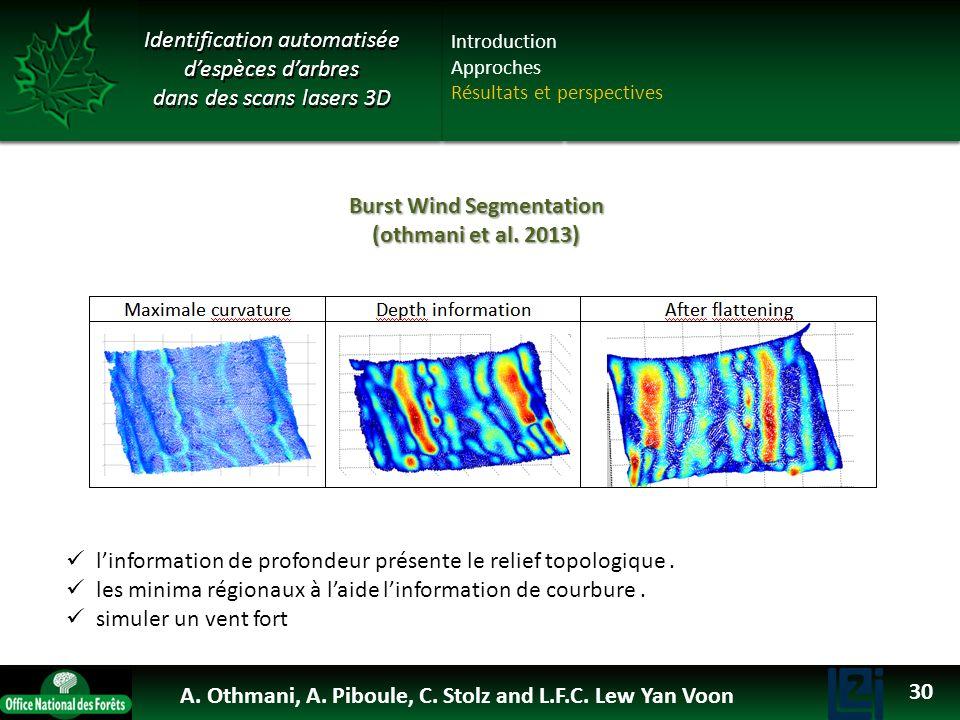 Identification automatisée despèces darbres dans des scans lasers 3D Burst Wind Segmentation (othmani et al. 2013) linformation de profondeur présente