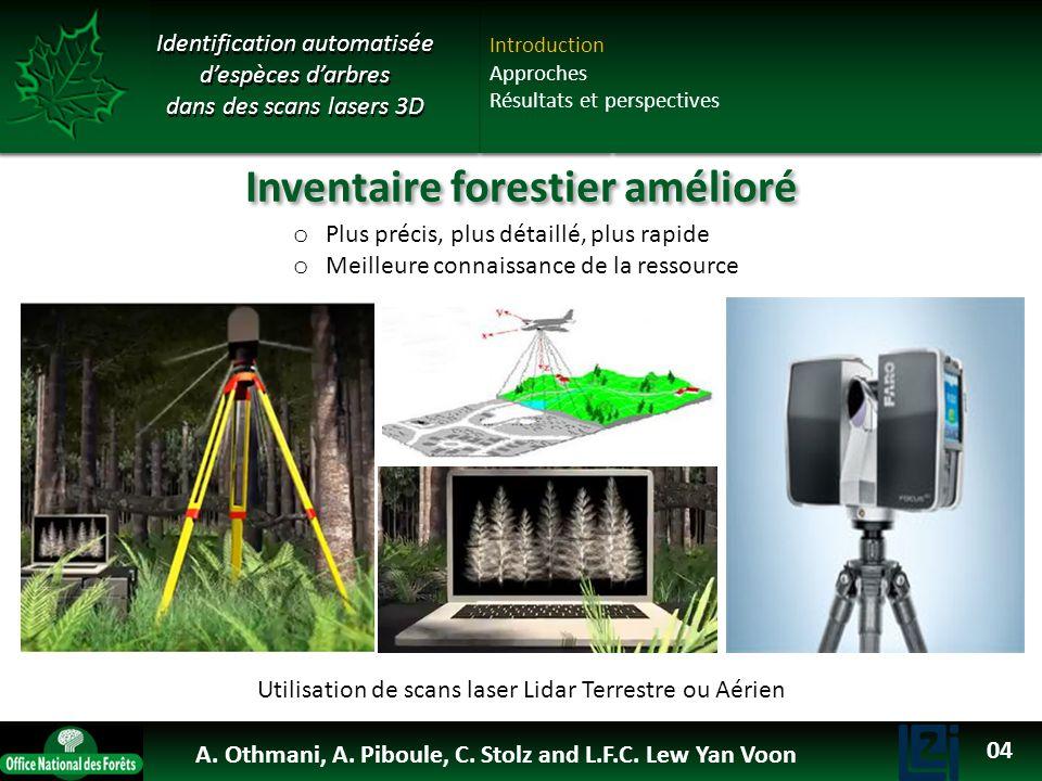 OTHMANI Ahlem 2013 Inventaire forestier amélioré o Plus précis, plus détaillé, plus rapide o Meilleure connaissance de la ressource Utilisation de sca