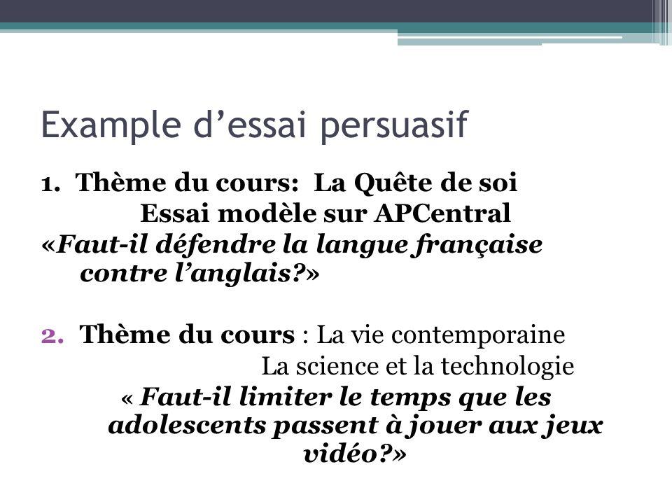 Example dessai persuasif 1. Thème du cours: La Quête de soi Essai modèle sur APCentral «Faut-il défendre la langue française contre langlais?» 2.Thème