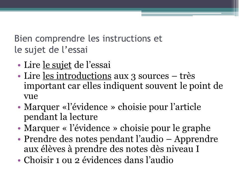 Bien comprendre les instructions et le sujet de lessai Lire le sujet de lessai Lire les introductions aux 3 sources – très important car elles indique