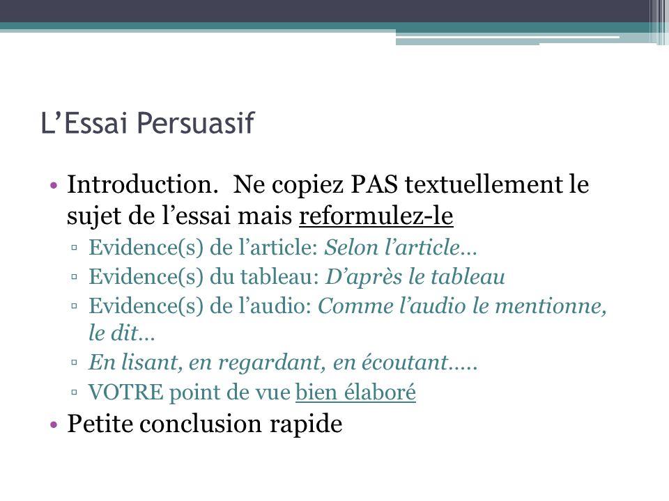 LEssai Persuasif Introduction. Ne copiez PAS textuellement le sujet de lessai mais reformulez-le Evidence(s) de larticle: Selon larticle… Evidence(s)