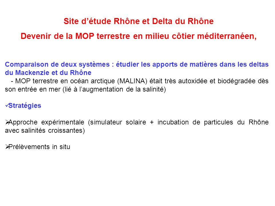 Site détude Rhône et Delta du Rhône Devenir de la MOP terrestre en milieu côtier méditerranéen, Comparaison de deux systèmes : étudier les apports de matières dans les deltas du Mackenzie et du Rhône - MOP terrestre en océan arctique (MALINA) était très autoxidée et biodégradée dès son entrée en mer (lié à laugmentation de la salinité) Stratégies Approche expérimentale (simulateur solaire + incubation de particules du Rhône avec salinités croissantes) Prélèvements in situ