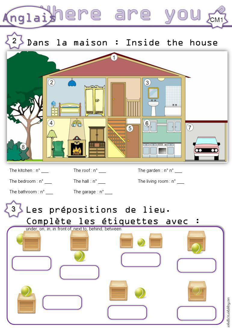 Les prépositions de lieu. Complète les étiquettes avec : under, on, in, in front of, next to, behind, between 3 Dans la maison : Inside the house 2 Th