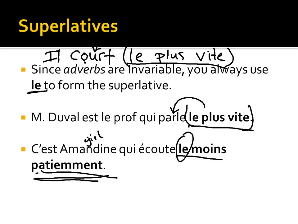 Since adverbs are invariable, you always use le to form the superlative. M. Duval est le prof qui parle le plus vite. Cest Amandine qui écoute le moin