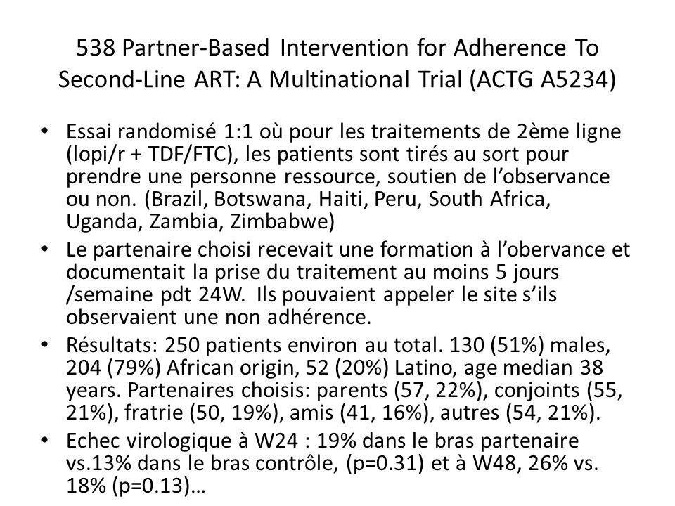 538 Partner-Based Intervention for Adherence To Second-Line ART: A Multinational Trial (ACTG A5234) Essai randomisé 1:1 où pour les traitements de 2ème ligne (lopi/r + TDF/FTC), les patients sont tirés au sort pour prendre une personne ressource, soutien de lobservance ou non.