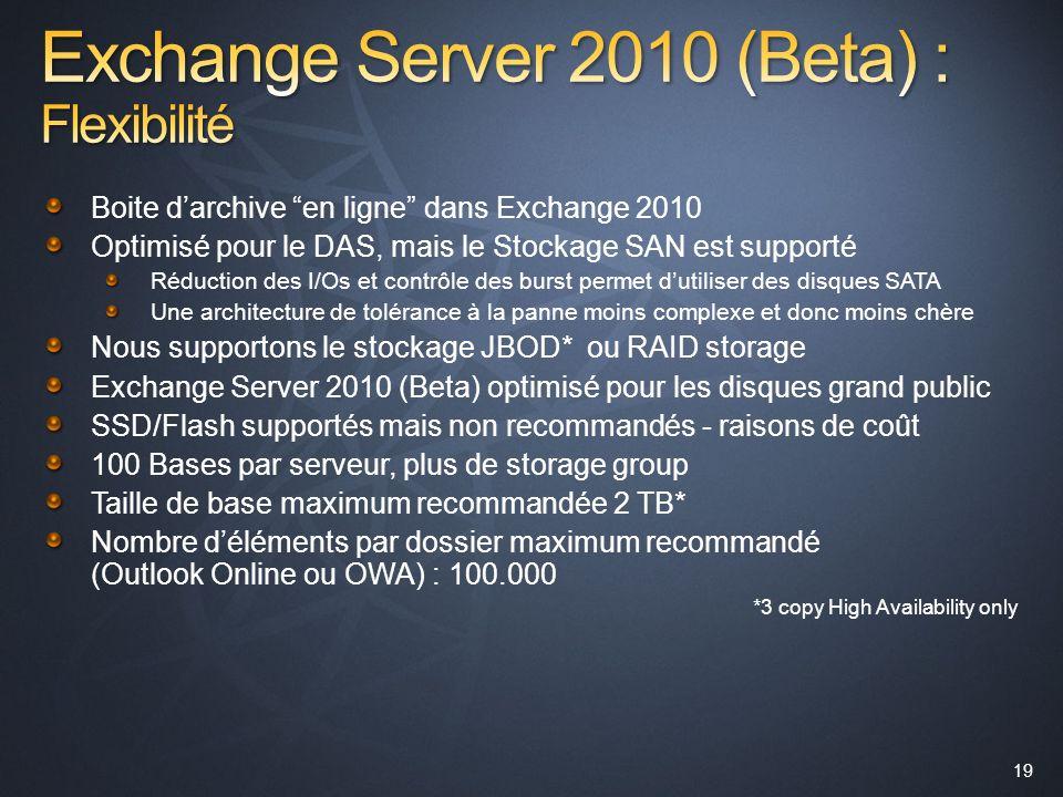 19 Boite darchive en ligne dans Exchange 2010 Optimisé pour le DAS, mais le Stockage SAN est supporté Réduction des I/Os et contrôle des burst permet