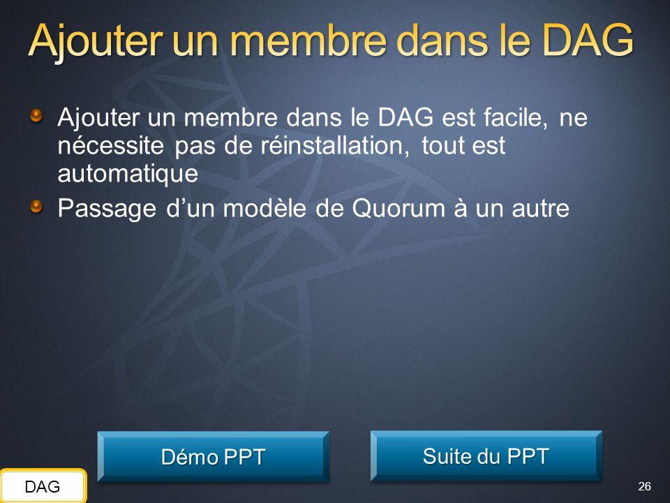 26 Ajouter un membre dans le DAG est facile, ne nécessite pas de réinstallation, tout est automatique Passage dun modèle de Quorum à un autre Démo PPT