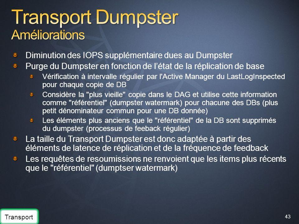 43 Diminution des IOPS supplémentaire dues au Dumpster Purge du Dumpster en fonction de létat de la réplication de base Vérification à intervalle régu