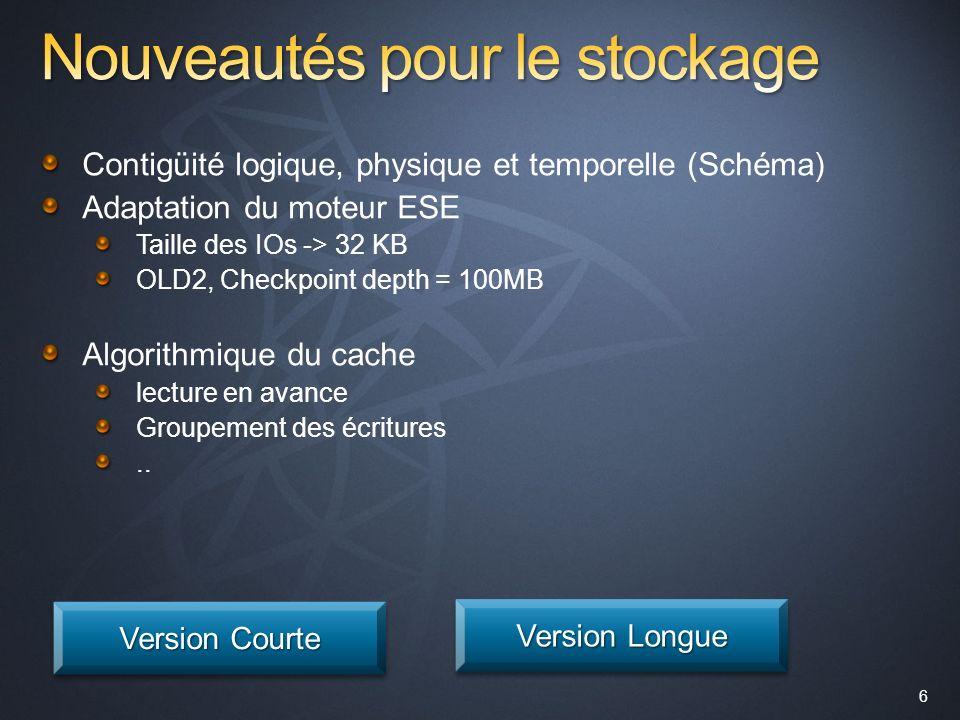 6 Contigüité logique, physique et temporelle (Schéma) Adaptation du moteur ESE Taille des IOs -> 32 KB OLD2, Checkpoint depth = 100MB Algorithmique du