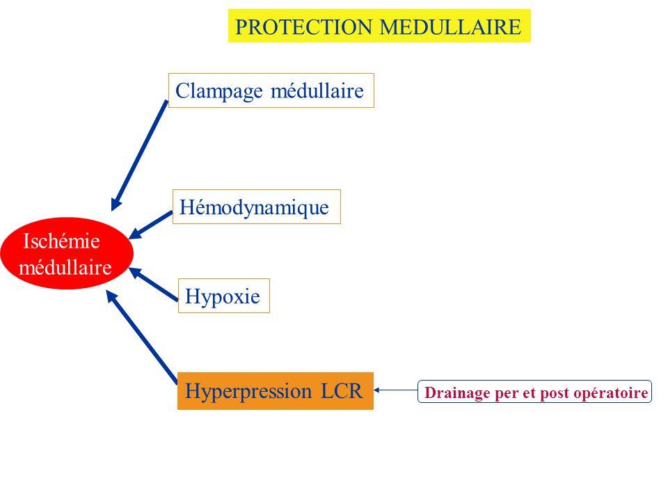 Drainage per et post opératoire Ischémie médullaire Clampage médullaire Hémodynamique Hyperpression LCR Hypoxie PROTECTION MEDULLAIRE