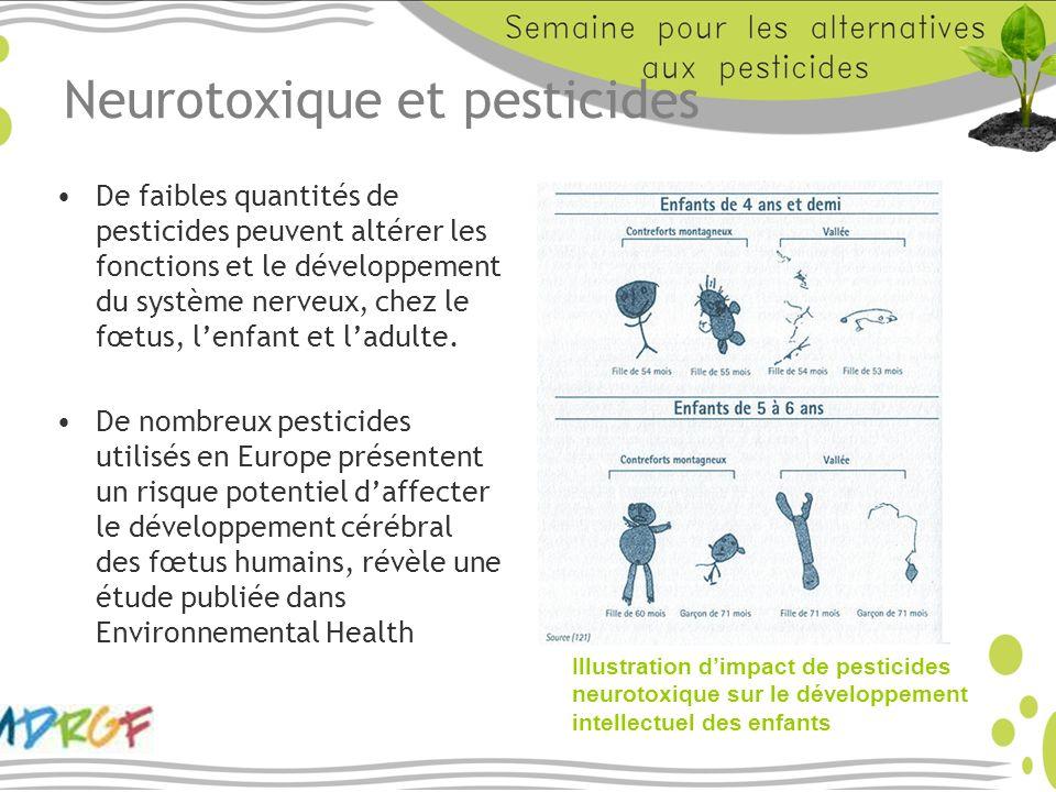 Neurotoxique et pesticides De faibles quantités de pesticides peuvent altérer les fonctions et le développement du système nerveux, chez le fœtus, len
