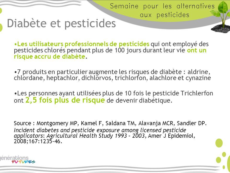 Diabète et pesticides Les utilisateurs professionnels de pesticides qui ont employé des pesticides chlorés pendant plus de 100 jours durant leur vie o